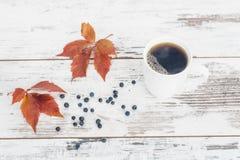 Svart te i den vita porslinkoppen på tappningträtabellen Royaltyfri Fotografi