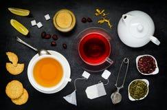 Svart te och rött fruktte med ingredienser Royaltyfri Foto