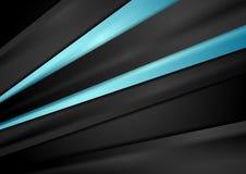 Svart techbakgrund med blått slätar band stock illustrationer
