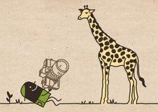Svart tecknad filmfotograf med giraffet arkivbilder