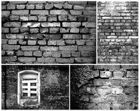 svart tegelstencollage walls white Royaltyfri Bild