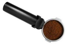 svart tillverkare för maskin för espressofilterhållare Royaltyfri Foto