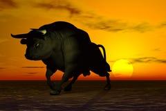 svart tjur stock illustrationer