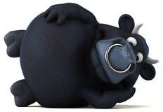 Svart tjur för gyckel - illustration 3D stock illustrationer