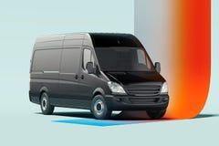 Svart tom lastbil på upplyst mångfärgad bakgrund framförande 3d vektor illustrationer