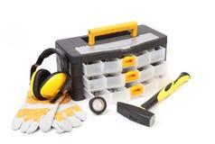 Svart toolbox med hjälpmedel. Royaltyfri Fotografi
