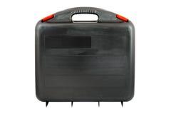 Svart toolcase för plast- med röda flikar royaltyfria bilder