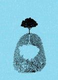 Svart trädkontur på fingeravtryck Royaltyfri Fotografi