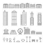 Svart tunn linje stadsbeståndsdelar stock illustrationer