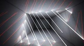 Svart tunnel, svart glans, neonlampor som hänger från taket, reflekterat i väggarna och golvet Nattsikt av korridoren royaltyfri foto