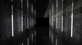 Svart tunnel, svart glans, neonlampor som hänger från taket, reflekterat i väggarna och golvet Nattsikt av korridoren vektor illustrationer