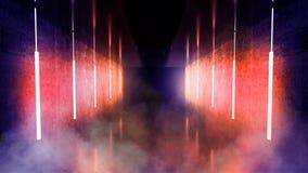 Svart tunnel, svart glans, neonlampor som hänger från taket, reflekterat i väggarna och golvet Nattsikt av korridoren arkivfoto