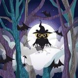 Svart uggla på trädbakgrunden av fullmånen stock illustrationer