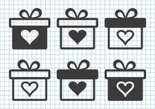 Svart uppsättning av gåvaaskar med hjärta också vektor för coreldrawillustration stock illustrationer