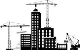 Svart uppsättning för bakgrundskonstruktionssymboler på grå färger Royaltyfri Bild