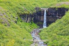 Svart vattenfall Svartifoss Fotografering för Bildbyråer