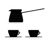 Svart vektor för kaffekruka- och kaffekoppar Royaltyfri Foto
