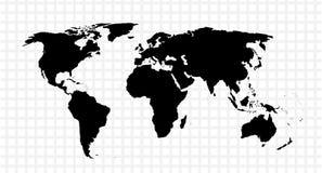 Svart vektoröversikt av världen Royaltyfri Bild