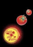 Svart vertikal pizzameny Arkivbild