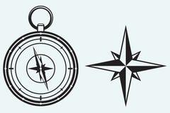 Svart vindros och kompass Arkivbild