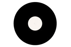 Svart vinylrekord på en vit bakgrund Royaltyfria Foton