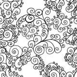 Svart virvlar runt på en vit bakgrund stock illustrationer