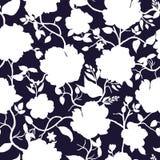 Svart vit blom- sömlös modell för blått och Royaltyfria Foton