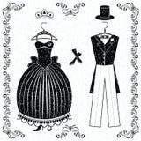 Svart-vit bröllopdräkter av bruden och brudgummen Arkivbilder