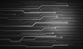 Svart vit futuristisk begreppsmässig bildmikrochipsbakgrund Royaltyfri Foto