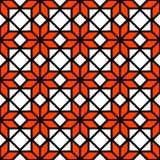 Svart vit och den orange enkla stjärnan formar den geometriska sömlösa modellen, vektor Arkivfoton