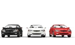 Svart, vit och röd bilvisningslokal stock illustrationer