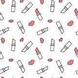 Svart vit och röd för modellbakgrund för läppstift och för kant sömlös illustration vektor illustrationer