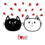 Svart vit symbol för familj för par för konturkatthuvud Röd hjärtauppsättning Gulligt roligt tecknad filmtecken Hälsning för ord  Arkivfoto