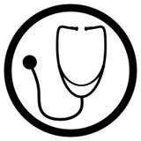 Svart vit symbolsvektor för stetoskop Royaltyfria Foton