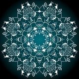 Svart vit turkosbakgrund för Mandala Arkivfoton