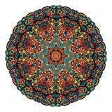 Svart vitt kort för prydnad med mandalaen royaltyfri illustrationer