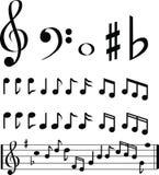 svart white för musikanmärkningsval Arkivfoton