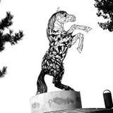 svart white modern staty Typisk stads- landskap i mitten av Bucharest - Bucuresti stock illustrationer
