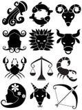svart zodiac för horoskopsymbolswhite vektor illustrationer