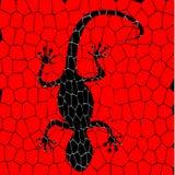 Svarta ödlor med röd bakgrund Fotografering för Bildbyråer