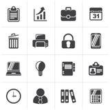 Svarta affärs- och kontorssymboler vektor illustrationer