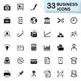 33 svarta affärssymboler Royaltyfri Bild