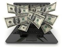 Svarta bärbar dator och pengar Arkivbild