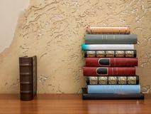 svarta böcker för bakgrund som isoleras över tabellen arkivfoton