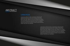 Svarta bakgrundsöverlappningsgrå färger och svartark, modernt abstrakt begrepp Fotografering för Bildbyråer