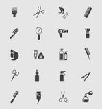 Svarta Barber Shop Icons Royaltyfria Bilder
