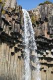 Svarta basaltkolonner och storartad vattenfall Svartifoss, Skaftafell nationalpark, Island Arkivbilder