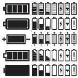 Svarta batterisymboler för vektor Royaltyfri Fotografi