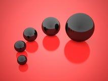 Svarta begreppssfärer med reflexion Royaltyfri Bild