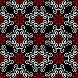 Svarta beståndsdelar för röd och vit blomma Seamless bakgrund
